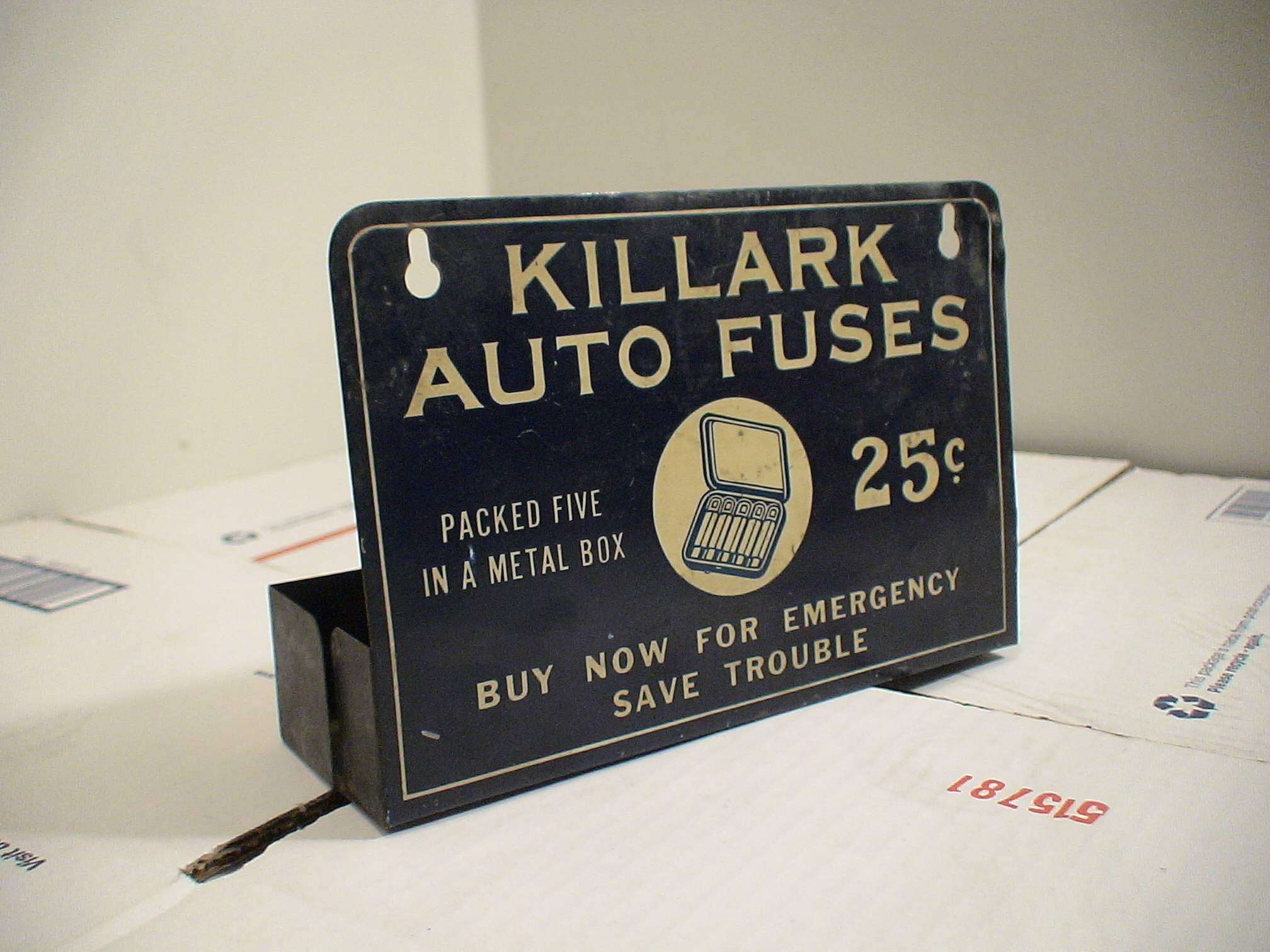 H.D. Beach Co., Automotive Tin Litho Display Sign Killark Fuses c.1930-1940